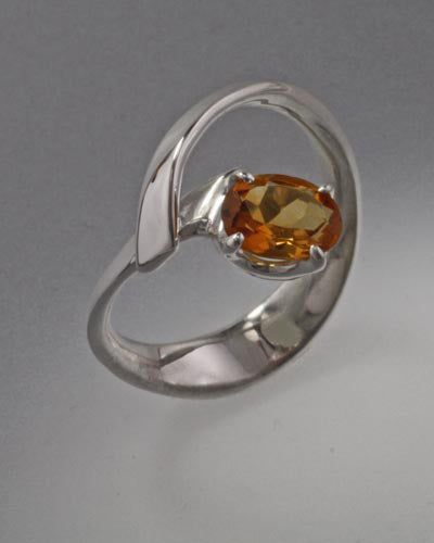 Sterling Silver Ring with 8x6 stone (shown with Citrine, see options to choose stone)