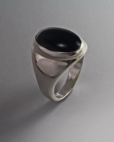Sterling Silver Ring with18x13mm cabochon ( shown in Onyx see options to choose stone)