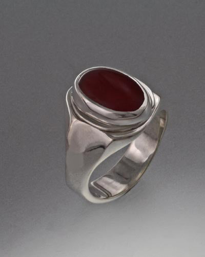 Sterling Silver Ring with 14x10mm Cabochon stone (shown in Carnelian see options to choose stone)