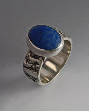 Sterling Silver Ring with 16x12mm cabochon (shown in Denim Lapis see options to choose stone)