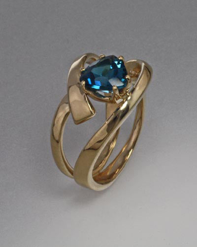 14K Gold Ring with London Blue Topaz