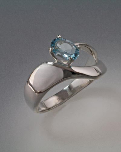 Sterling Silver Ring with Sky Blue Topaz