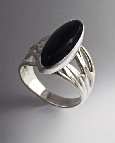 Sterling Silver Ring with Onyx