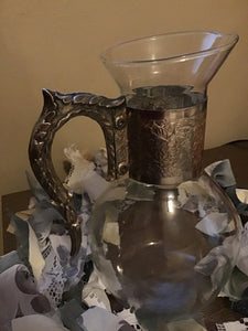 Beautiful Antique Pitcher With Silver Accents