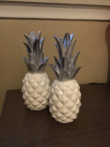 Set of 2 BEAUTIFUL White and Silver Pineapples