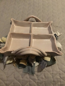 Stoneware 4 Section Tray W/ Unique Handles