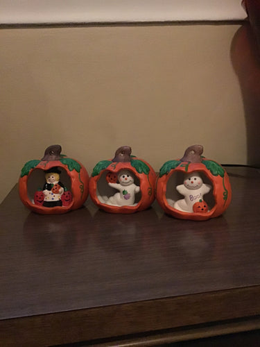 Adorable Set of 3 Pumpkins With Little Cuties Inside