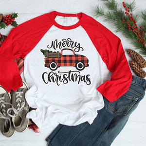 Merry Christmas Retro Red Plaid Truck Tshirt