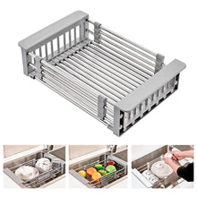 Load image into Gallery viewer, Space Saving Basket Style Stainless Steel Dish Drainer