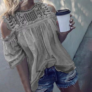 Lace Round Neck Hollow Half Sleeve Cold Shoulder Blouse
