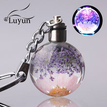 Load image into Gallery viewer, Fresh Dried Flower Keychain In Round Crystal Glass