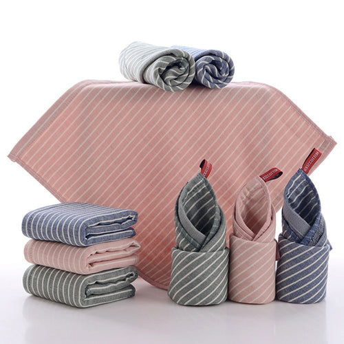 3 Colors Cotton Striped Kitchen Towels