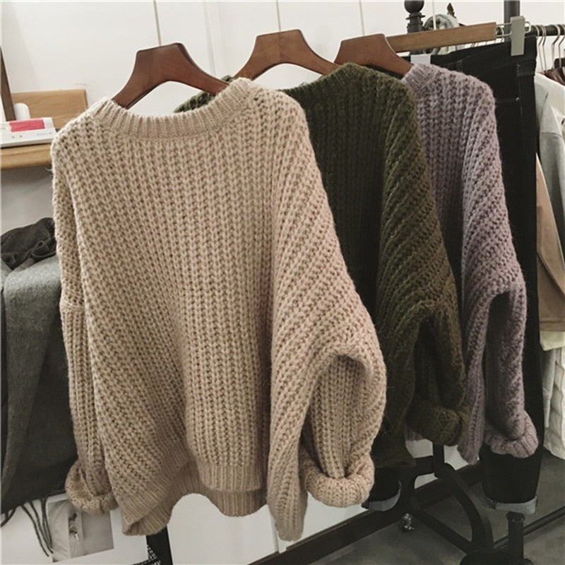 2019 Women Autumn Winter Slim Long-Sleeved Round Collar Bottom Knit Sweater