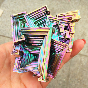 Beautiful  Mineral Specimen Bismuth Crystal Iridescent Minerals Rocks big