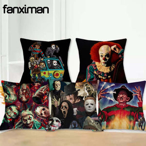 "18"" Linen Cushion Cover Throw Pillowcase, Murderers Chucky Jason Friday Home Decor"