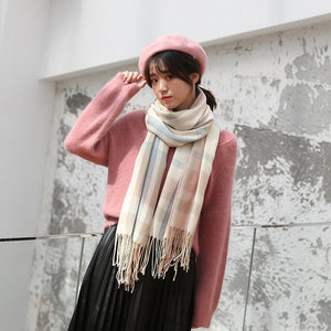 Autumn/Winter Wool Plaid Scarf Shawl