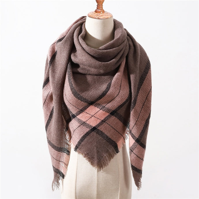 New For 2019 Fall/Winter Cashmere Triangle Plaid Scarves