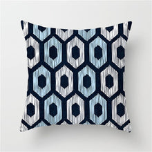 Load image into Gallery viewer, Blue Geometric Cushion Cover for Throw Pillows , Check out our line of new pillows too