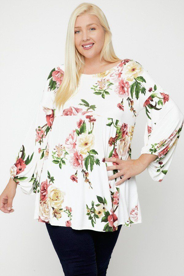 Floral, Bubble Sleeve Tunic - FabulousFixx
