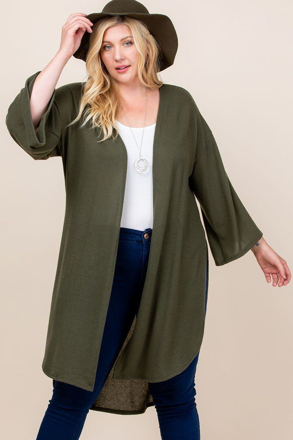 Solid Hacci Brush Open Front Long Cardigan with Bell Sleeves - FabulousFixx