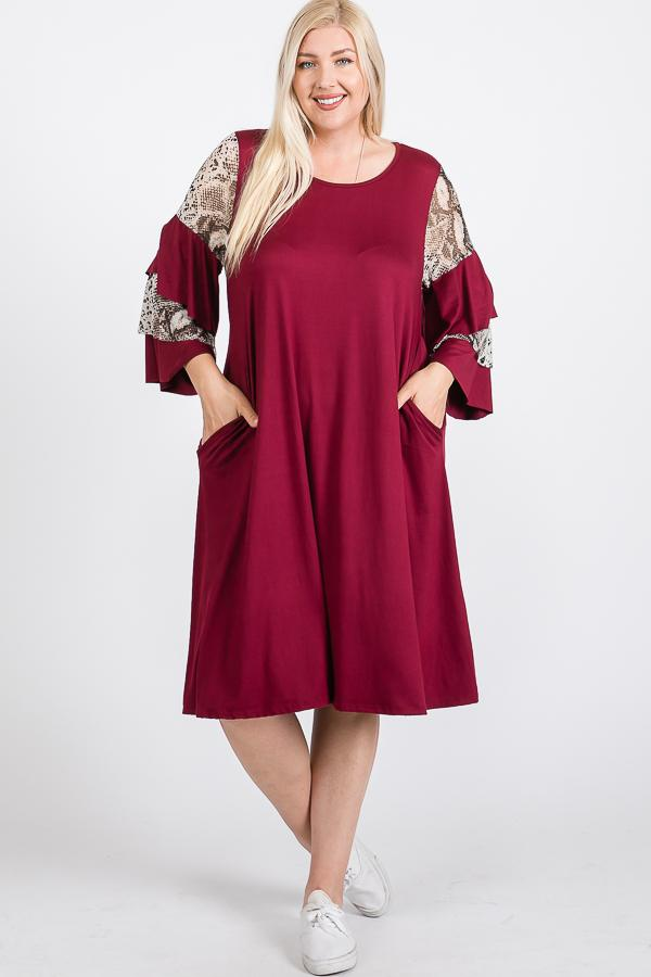 Mixed Ruffle Sleeve With Hidden Pocket A Line Dress - FabulousFixx