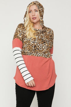 Color Block Hoodie Featuring A Cheetah Print - FabulousFixx