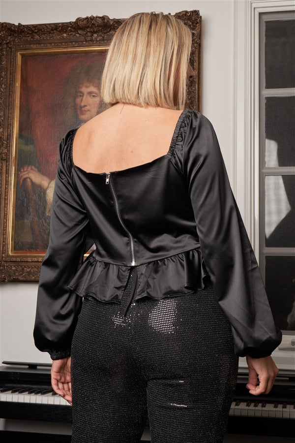 Junior Black Satin Pleated Front Detail Long Puff Sleeve Corset Crop Top - FabulousFixx