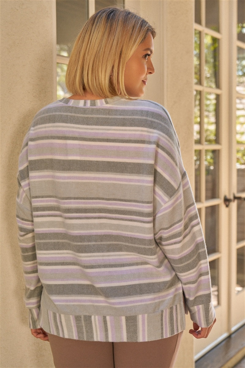 Junior Sage & Lavender Stripped Super Soft Sweatshirt - FabulousFixx