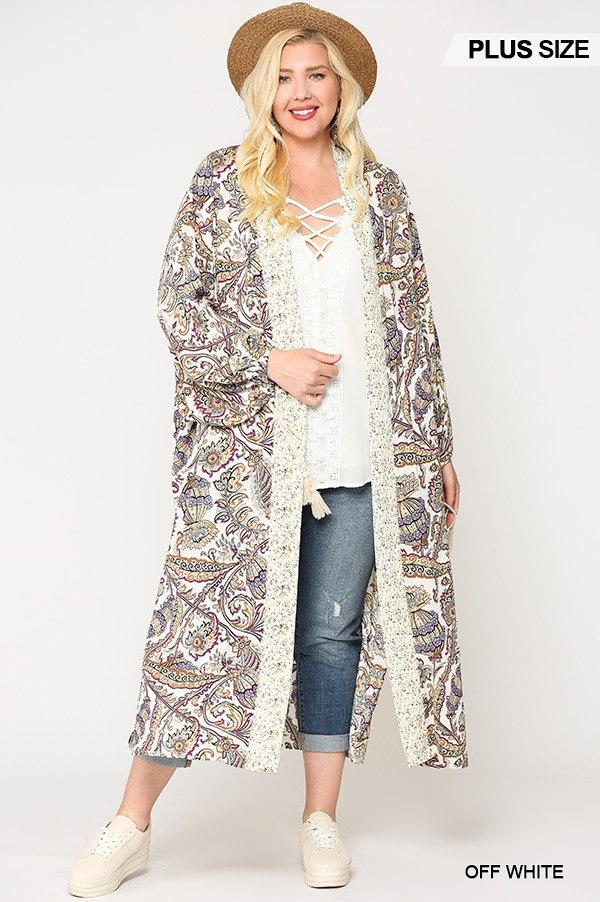 Mix-Printed Open Front Kimono with Side Slits - FabulousFixx
