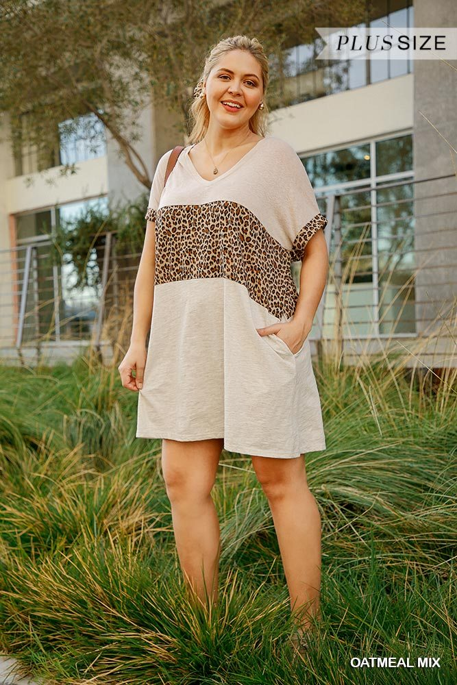 Junior Linen Blend Short Folded Sleeve Animal Print Colorblocked V-Neck Dress with Pockets - FabulousFixx