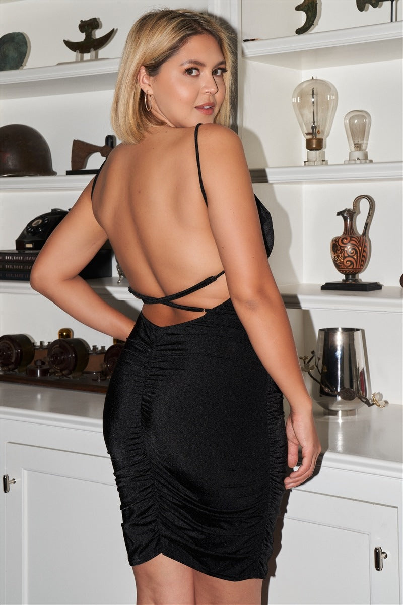 Junior Sleeveless Square Neck Open Back Criss-Cross Straps Gathered Fitted Mini Dress - FabulousFixx