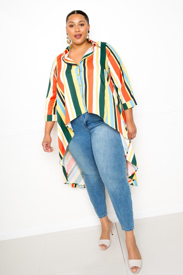 Striped Hi Low Shirt - FabulousFixx