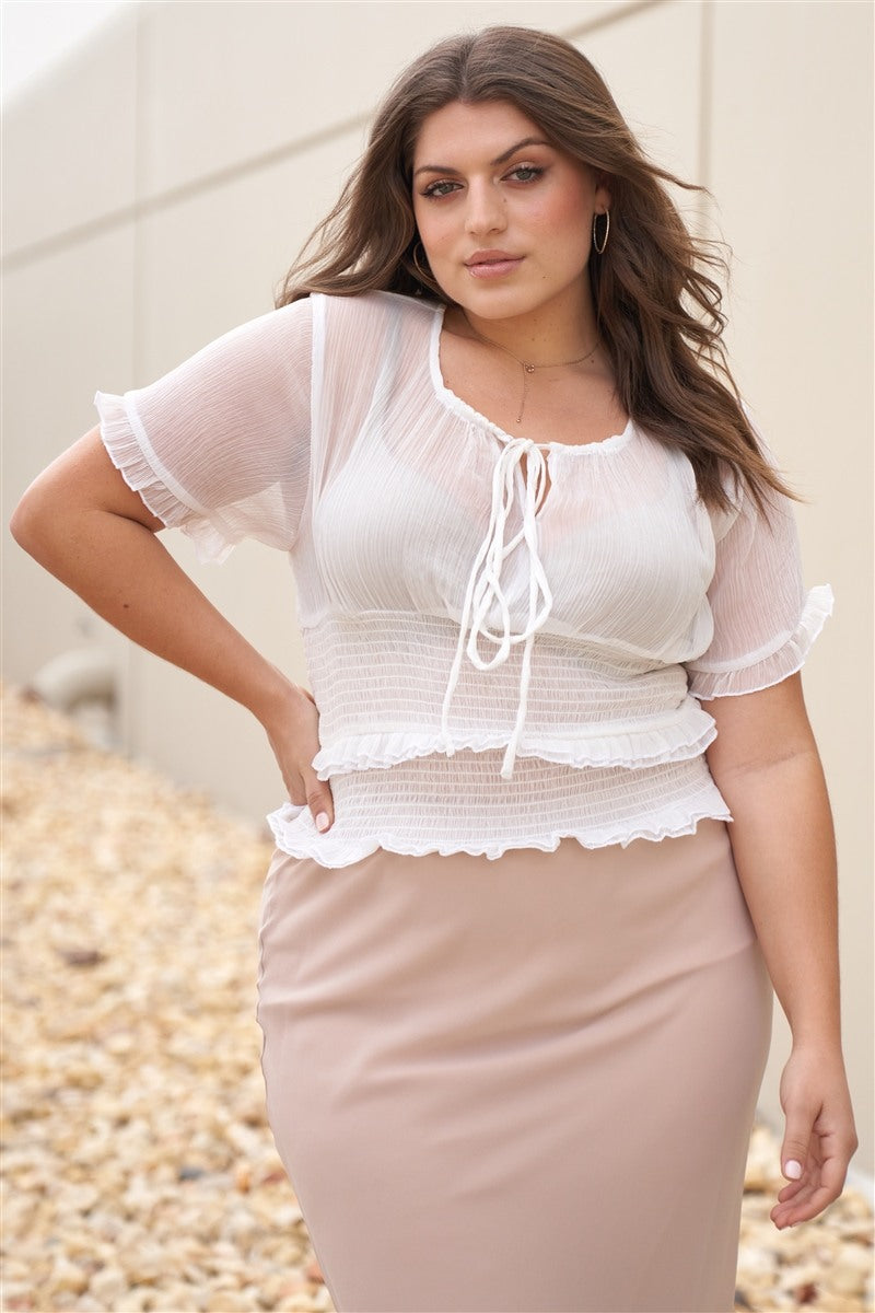 Short Sleeve U-Neck with Self-Tie Detail Frill Smocked Sheer Top - FabulousFixx