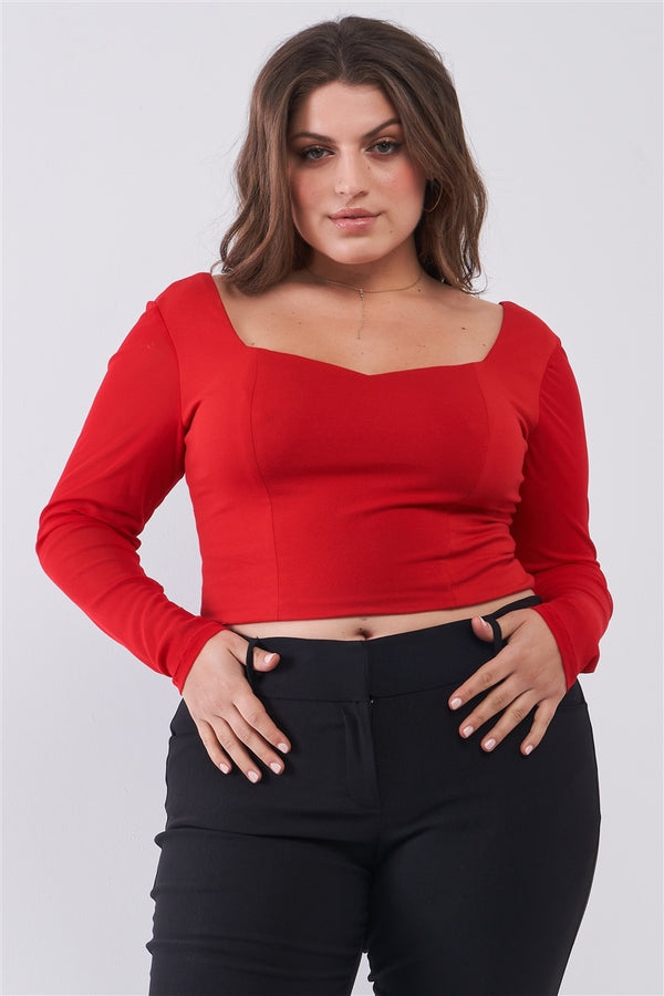 Crimson Red Long Mesh Sleeve Sweetheart Neck Detail Structured Crop Top - FabulousFixx