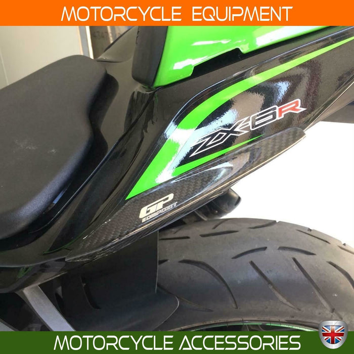 Kawasaki ZX6-R Ninja carbon fiber tail fairing guard protector set