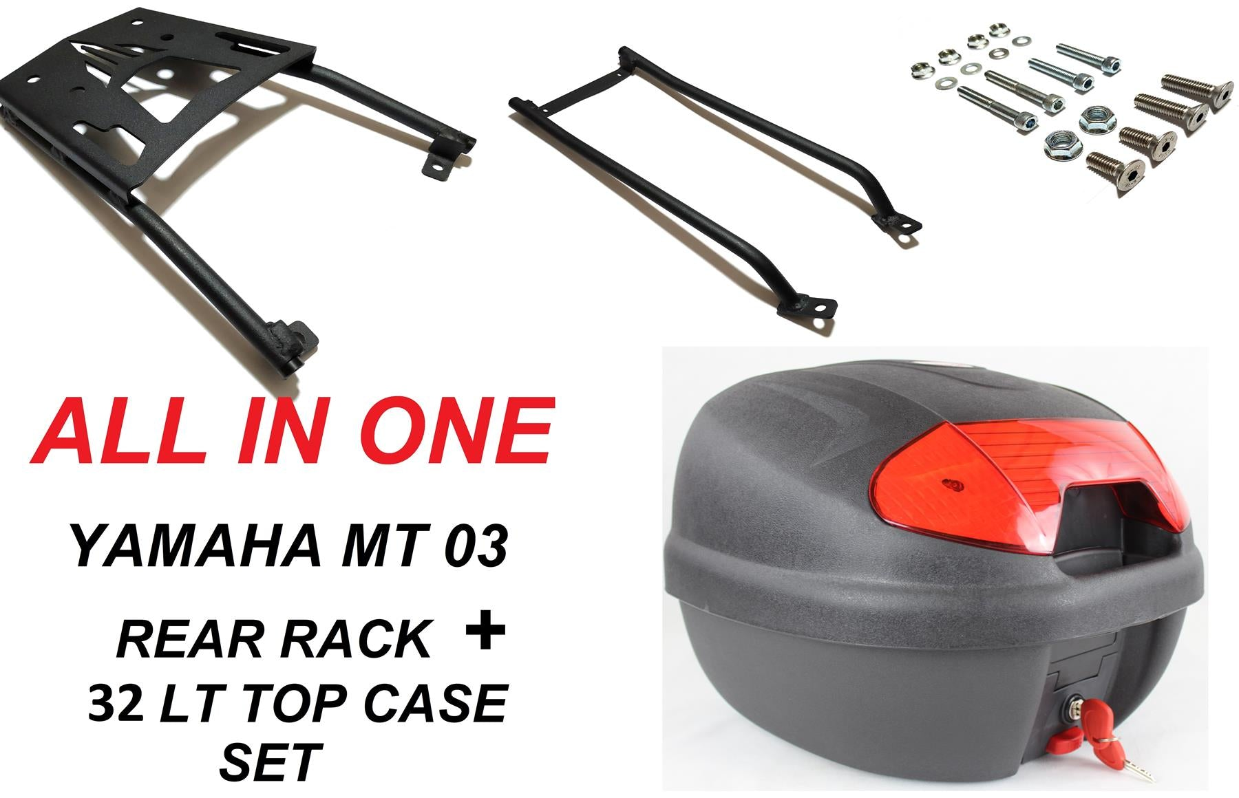 Yamaha MT03 luggage rack + 32 LT top case set 16-19 ALL IN ONE.