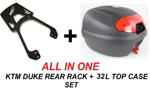 KTM DUKE rear rack luggage carrier + 32 LT top case set - ALL IN ONE