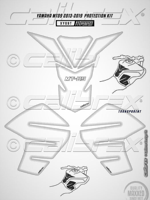 YAMAHA MT09 TRANSPARENT TANK PAD+KNEE PAD PAIR SET 2013-16