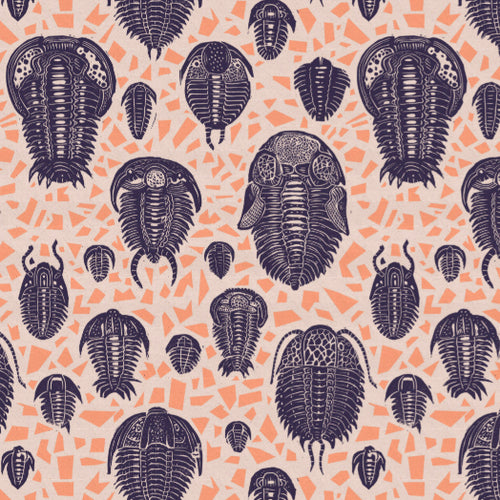 Trilobites purple fabric - £50 p/m