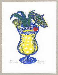 Pina colada - limited edition woodcut