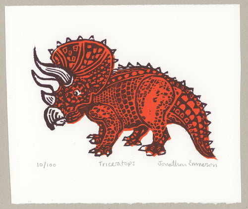 Triceratops - limited edition woodcut