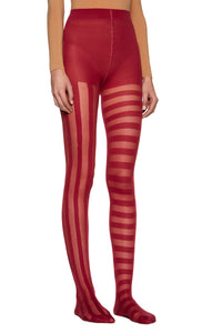 Bordeaux Red 'Stripes' Tights