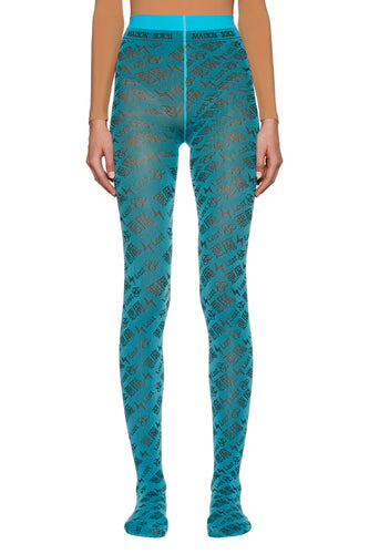 Turquoise 'Lost' Tights