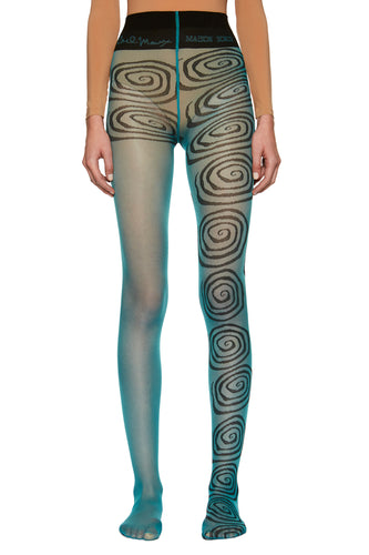 Carl Marx X Maison Soksi ~ Teal 'Wormhole' Tights