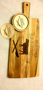 Dad's Barbeque Chopping Board and Coaster Set