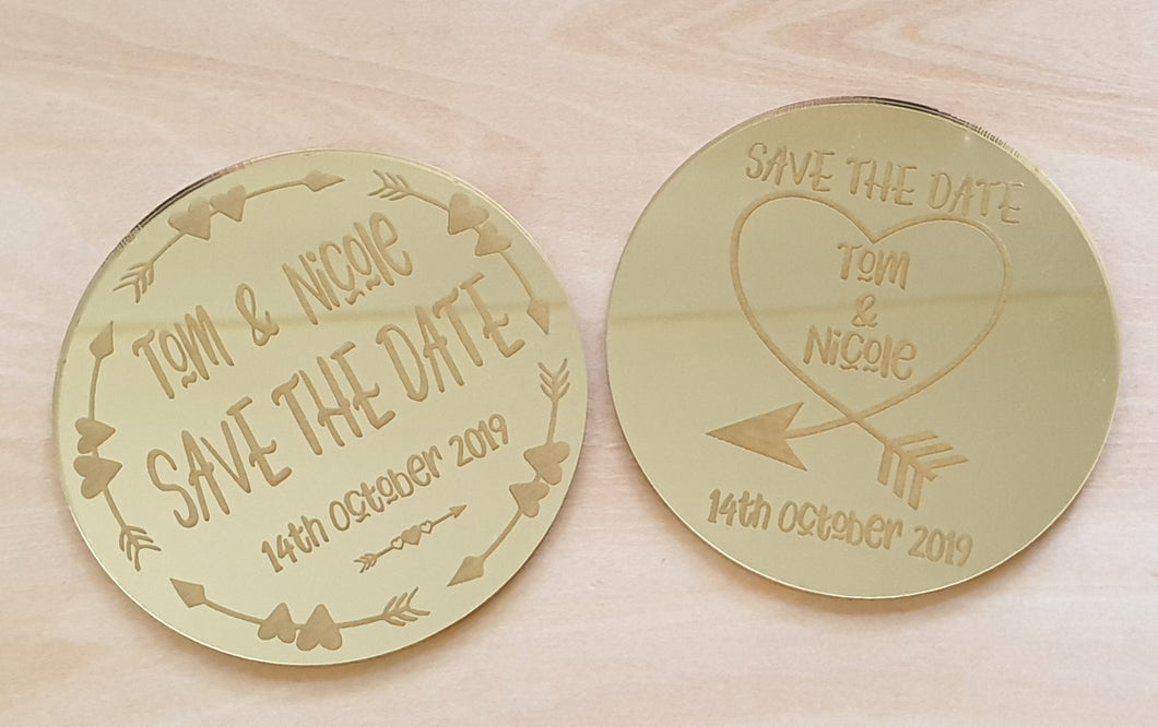 Personalised 'Save the Date 'Fridge Magnet - Mirrored Acrylic