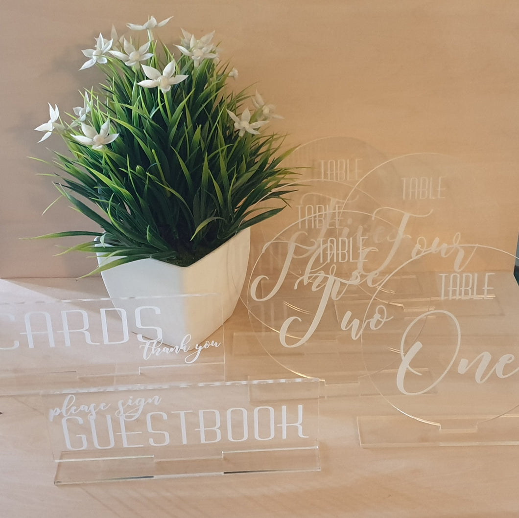 Engraved Wedding Table Numbers