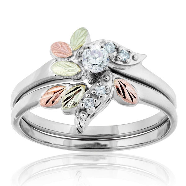 0.21tcw 10k White Gold with 12k Black Hills Rose and Olive Gold WGC4772D5 - Berg Jewelry & Gifts