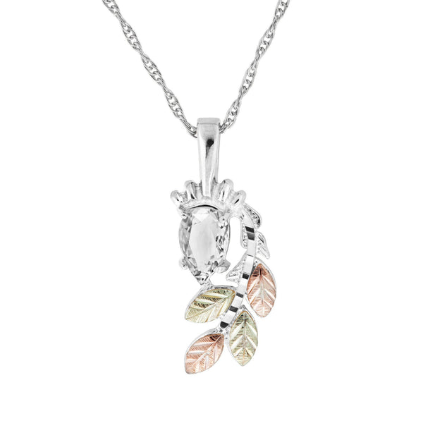 25190Z-GS WHITE CZ PEND - Berg Jewelry & Gifts