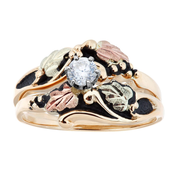 Black Hills Gold Antiqued Diamond Ring